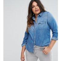 Levis Plus Western Denim Shirt - Light blue