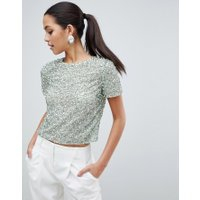 ASOS DESIGN - T-shirt med paljetter - Tvättad grön