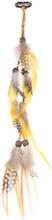 Gocciani Hair Feather Extension Clips Gula fjädrar med träpärlor (Rostgula fjädrar)