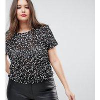 ASOS DESIGN - Curve - T-shirt med paljetter - Svart