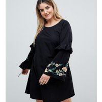 Junarose embroidered dress in black with frill detail - Black