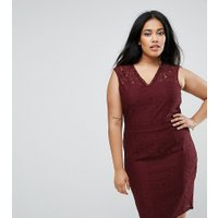 Junarose Lace Pencil Dress - Vineyard wine