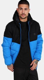 Urban Classics TB2425 Hooded 2-Tone Puffer Jakke Bright Blue/Black