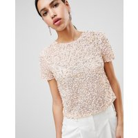 ASOS DESIGN - T-shirt med paljetter - Mjukt rosa