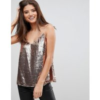 ASOS FYLLIGARE BYST camisole med v-urringning och paljetter - Rosé guld