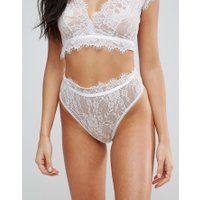 ASOS BRIDAL Eyelash Lace Highwaist Thong - White