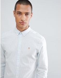 Farah Hemsley Blårandig skjorta i slim fit - Blå