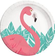 8 stk Papptallerkener 23 cm - Flamingo