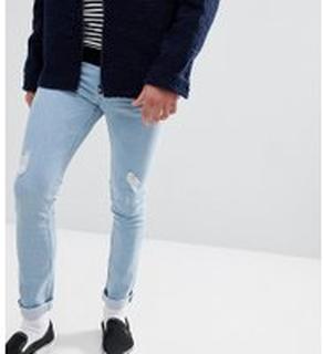 Just Junkies - Ljusa jeans med revor och lagningar i extra smal passform - 538 summer blue hole