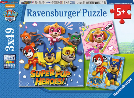 Paw Patrol - Puslespill 3x49 brikker