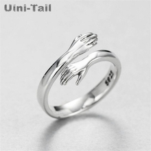 Uini-Tail hot new 925 sterling silver European and American jewelry love hug ring retro fashion tide flow open ring GN601
