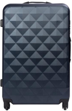 Stor kuffert - Diamant mørkeblå hardcase kuffert - Eksklusiv rejsekuffert
