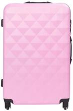 Stor kuffert - Diamant lyserød hardcase kuffert - Eksklusiv rejsekuffert
