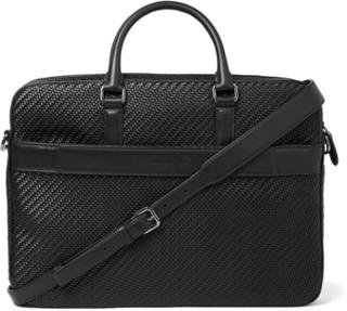 Pelle Tessuta Leather Briefcase - Black