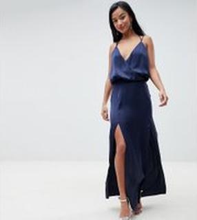 ASOS PETITE Drape Front Strappy Back Maxi Dress - Navy