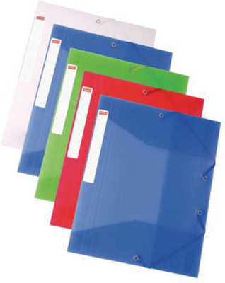 Gummibandsmapp transp plast 5-färger6/FP