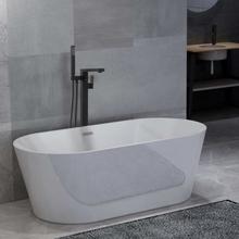 vidaXL Fristående badkar och blandare 220 L 90 cm svart