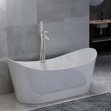 vidaXL Fristående badkar och blandare 204 L 110 cm silver