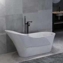 vidaXL Fristående badkar och blandare 210 L 90 cm svart