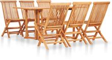 vidaXL foldbart udendørs spisebordssæt 7 dele massivt teaktræ