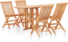 vidaXL foldbart udendørs spisebordssæt 5 dele massivt teaktræ