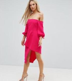 ASOS PETITE Bardot Midi Dress With Tiered Wrap Skirt - Hot pink