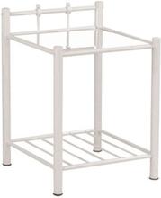 Sara sängbord - metall/glas/vit