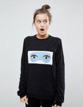 ASOS LOUNGE - Sweatshirt med paljetter med olikfärgade sidor som ger 2 olika motiv - Svart