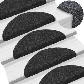 vidaXL selvklæbende trappemåtter 15 stk. tuftet 56 x 20 x 4 cm sort