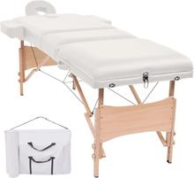 vidaXL Hopfällbar massagebänk 3 sektioner 10 cm tjock vit