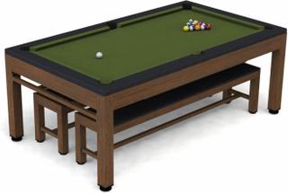 RILEY Neptune 3-i-1 havebordssæt/poolbord/bordtennisbord - brun/sort/grøn, incl. bænke og tilbehør