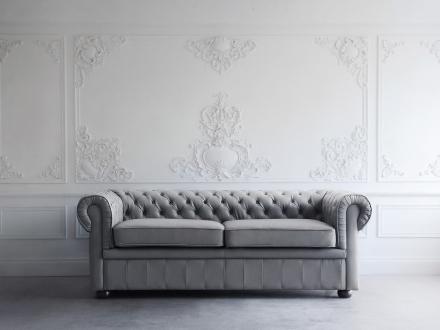 Sofa Grå Chesterfield