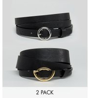 ASOS DESIGN Curve 2 pack circle buckle waist and hip jeans belts