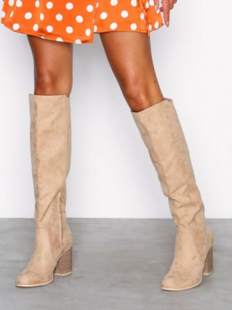 Knee-high - Beige NLY Shoes Block Knee High Boot