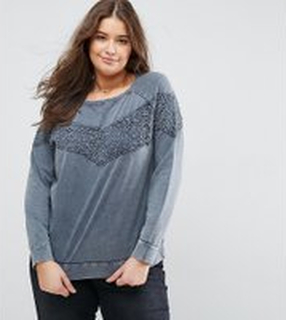 Junarose Lace Overlay Sweatshirt - Grey