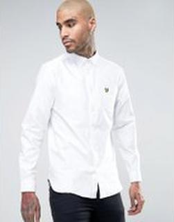 Lyle & Scott Oxford Shirt Buttondown Regular Fit Eagle Logo in White - White