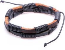 Läderarmband Eddie svartbrunt