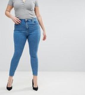 ASOS DESIGN - Curve - Ridley - Skinny jeans med hög midja i lätt tvått - Liljeblå tvätt