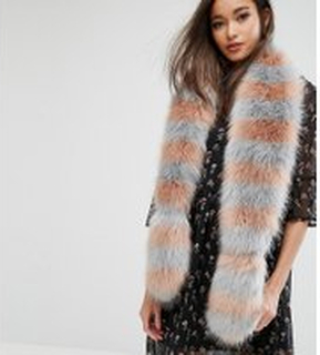 My Accessories Striped Faux Fur Scarf - Pink/grey