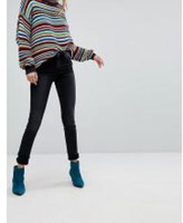 Monki Mocki Slim Mid Waist Jeans - Washed black