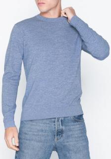 J Lindeberg Niklas R-Neck Refined Cotton Gensere Blue