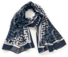 Sjaal grafische print Van Rabe blauw