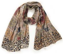 Sjaal patchmotieven Van Peter Hahn bruin