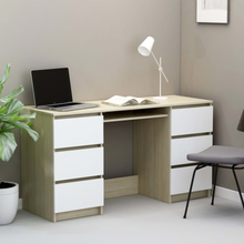 vidaXL Skrivebord hvit og sonoma eik 140x50x77 cm sponplate