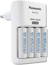 Panasonic Eneloop Lynlader inkl. 4 stk. AA batterier, Hvit