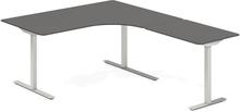Höj- och sänkbart skrivbord DNA antracit 1600x2000mm höger 3 ben/alugrått