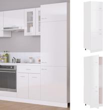 vidaXL Skap for kjøkkenskap høyglans hvit 60x57x207 cm sponplate