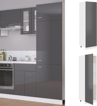 vidaXL Skap for kjøkkenskap høyglans grå 60x57x207 cm sponplate