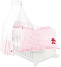 Textilset till Babysäng 4 delar,Glückspilz, Rosa - Sängyt & Lisätarvikkeet