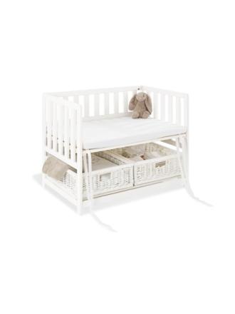 Bedside Crib med Madrass, Janne/Vit - Sängyt & Lisätarvikkeet